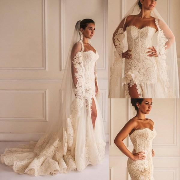 Wedding - Sexy Wedding Dresses Mermaid Sweetheart Lace Hand Made Flowers Split Side Sweep Train Gorgeous Bridal Gowns 2015 Online with $177.39/Piece on Hjklp88's Store
