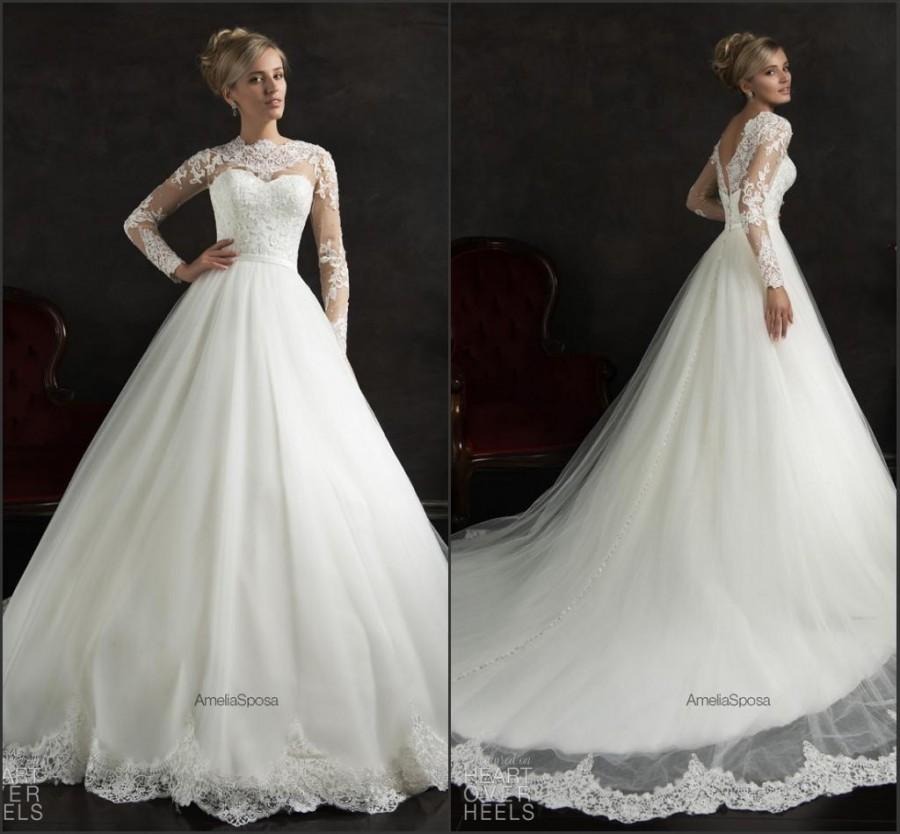 New arrival vintage amelia sposa wedding dresses 2015 crew for Crew neck wedding dress