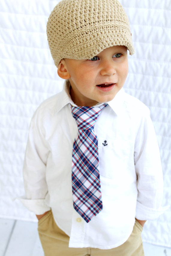 زفاف - NEW Boy's Wedding Blue Plaid Tie. Ring Bearer Tie, Toddler Tie, Baby Boy Tie, Boy Birthday Gift, Dapper Baby Boy. Ready to Ship! 4th of July