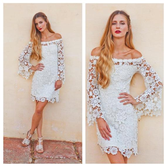 Свадьба - BELL SLEEVE crochet lace dress /  off shoulder neckline / boho hippie wedding mini dress / vintage inspired 70s style