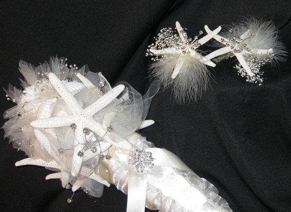 Свадьба - SUNSET STARBURST - Dreamy Destination Seashell Wedding Bouquet
