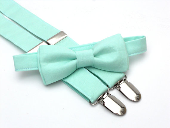 Mariage - Ring bearer outfit, mint bow tie and suspenders, toddler bow tie and suspenders, bow tie and suspender set, mint wedding, wedding suspenders