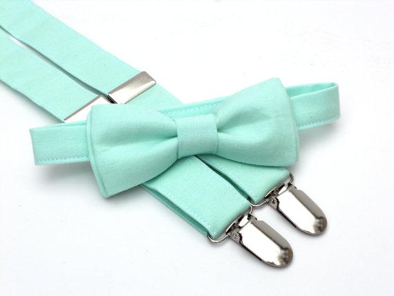 زفاف - Ring bearer outfit, mint bow tie and suspenders, toddler bow tie and suspenders, bow tie and suspender set, mint wedding, wedding suspenders