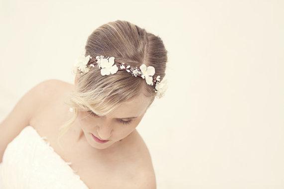 زفاف - wedding accessories, bridal headpiece, wedding flower crown, ivory Flower crown, rustic head wreath, wedding headband, bridal hair
