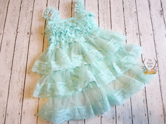 زفاف - Aqua Ruffle Lace Dress - Baby Girl Dress - Flower Girl Aqua - Vintage Look - Flower Girl Dress 18 24 months 2T Rustic Wedding