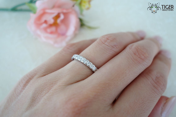 زفاف - Size 4-10: 1 Carat Eternity Band, Wedding Band, Round, Engagement, Man Made Diamond Simulant, Bridal Ring, Sterling Silver, Promise Ring