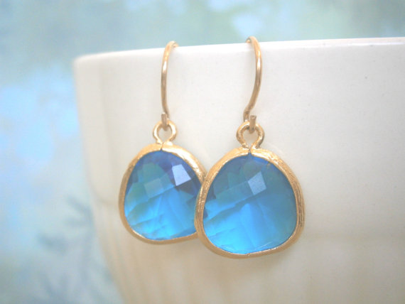 Royal Blue Earrings Gold Bridal Jewelry Bridesmaid Best Friend Birthday Gifts Under 25