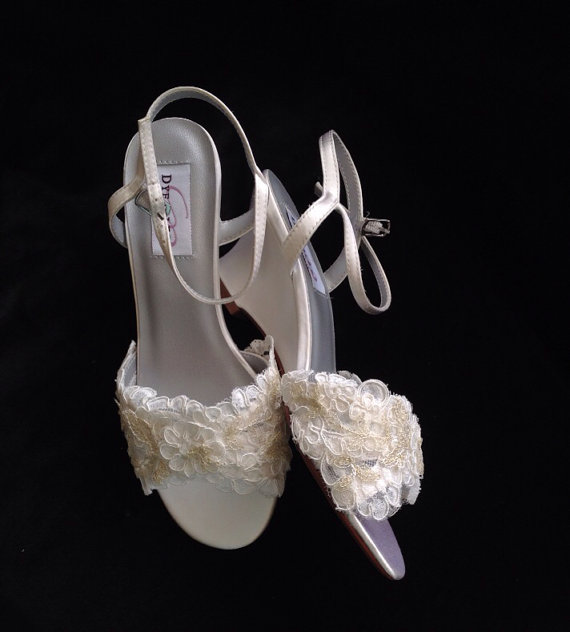 """Mariage - Reserved Listing for Patti - Custom Gold Lace Accent Wedge Heel Wedding Shoes - """" Cassie Gold"""""""