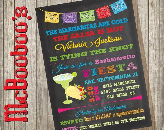 Chalkboard Mexican Fiesta Bachelorette Party Invitations 2311737