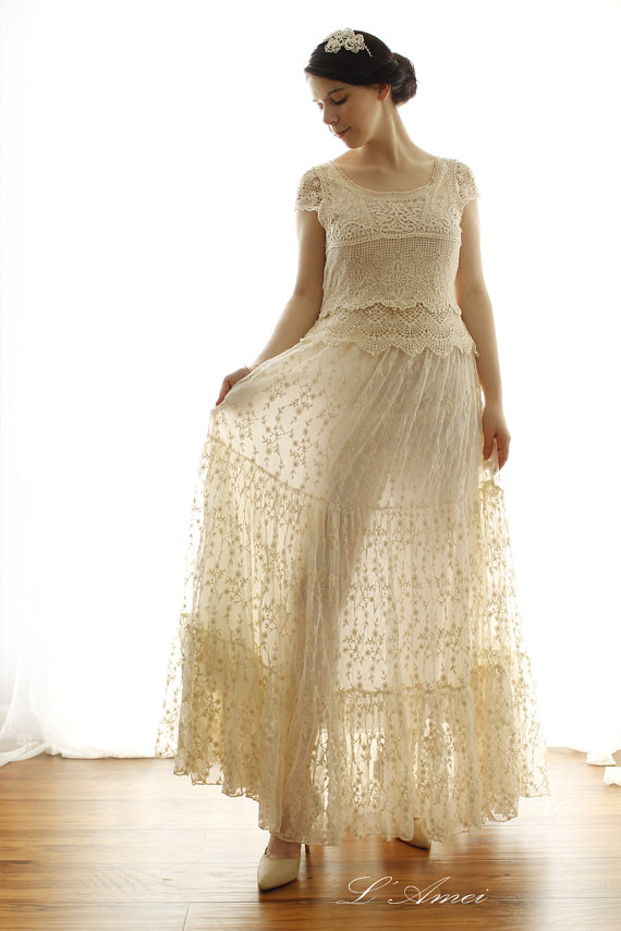 Ivory Cream Vintage Style Cap Sleeve Floor Length Lace Wedding Bridal Dress For Woodland Beach Princess Kathryn