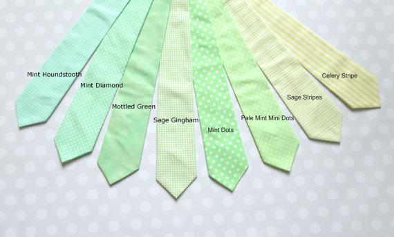 Mens Ties In Shades Of Mint Through Light Green, Groomsmen Ties ...