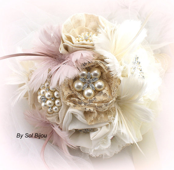 Mariage - Brooch Bouquet, Wedding, Bridal, Shabby Chic, Rustic, Ivory, Champagne, Tan, Blush, Linen, Lace, Pearls, Burlap, Feathers, Vintage Wedding