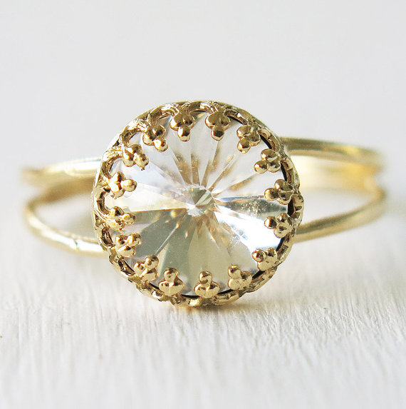 Hochzeit - gold ring, Swarovski ring, clear crystal ring,gift for her, cocktail ring ,gold filled ring, bridesmaid gift, dainty delicate