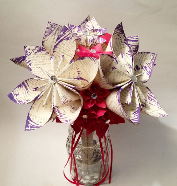 Свадьба - Paper Flower Wedding Bouquet- 10 inch, 18 flowers, handmade, made to order, personalized, origami, one of a kind, non traditional