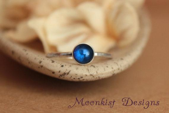 زفاف - Blue Sapphire Engagement Ring or Promise Ring - Bezel-Set Blue Sapphire Solitaire in Sterling - Bridesmaid Ring - September Birthstone