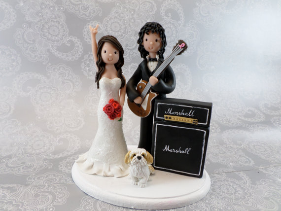 d888aaf30af90 Bride   Groom with Guitar and Marshall Amp Custom Handmade Wedding Cake  Topper