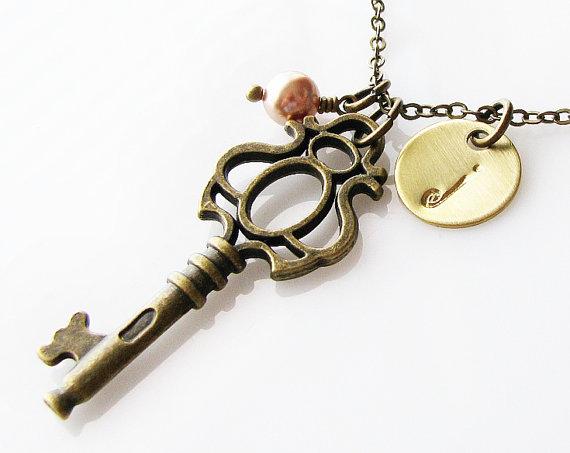 Wedding - personalized bridesmaid gift, key necklace, rustic wedding jewelry, personalized necklace, long necklace, bridal jewelry, romantic gift