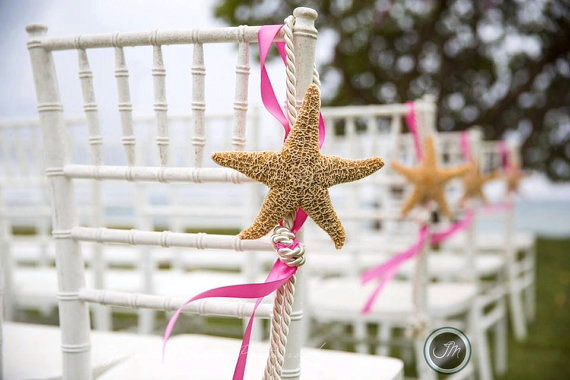 10 Beach Wedding Starfish Chair Decorations With 23 Ribbon Choices