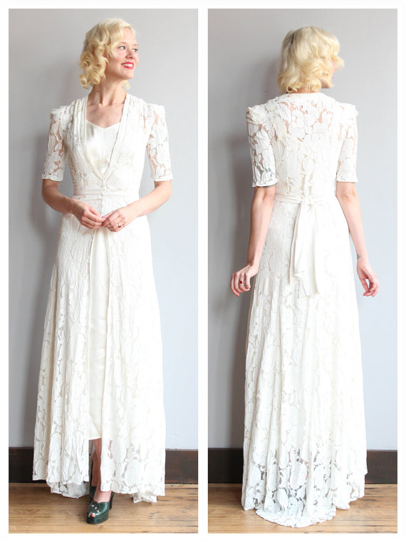 1930s wedding gown love lace bridal gown vintage for Wedding dress 30s style