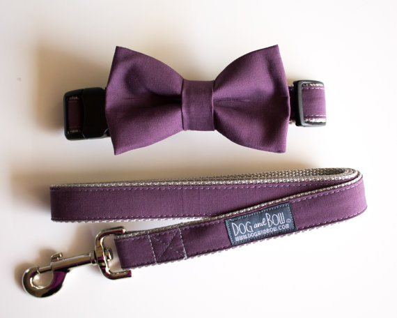 Свадьба - Plum Wine Eggplant Dog Bow Tie With Optional Matching Leash by Dog and Bow