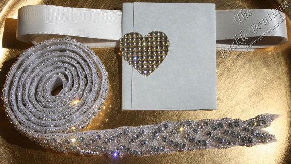 Wedding - DiY Chevron Bridal Belt 1 Yard Rhinestone Bead Trim for Wedding Sash Belt or Sew onto Dress ~ Ribbon, directions ~ Fast Ship BEST USA Seller