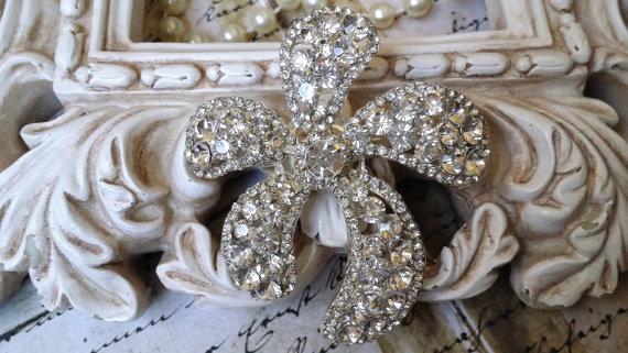 Wedding - Large Authentic Rhinestone Brooch ~ Rhinestone Crystal Brooch ~ Brooch Bouquet, Bridal Jewelry, Costume Jewelry, Crafting, etc RH-116