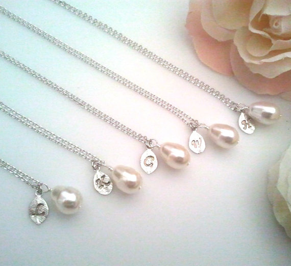Mariage - Bridesmade Gift, Pearl Necklace, Pesonalized Necklace,Personalized Jewelry, Initial Necklace,Statement,Pendant Necklace,Bridal jewelry, Gift