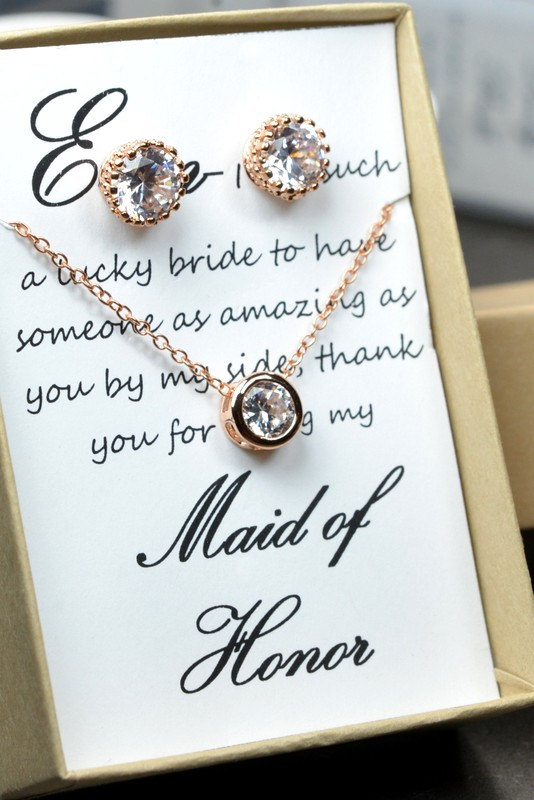 زفاف - Rose Gold Bridal Set, Bridesmaids Jewelry Set, Crystal Pendant and Earrings, Wedding Jewellery, Rose Gold Bridal Jewelry SET,silver set