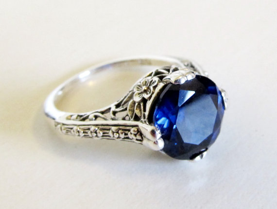 sapphire filigree engagement ring sterling silver size 6
