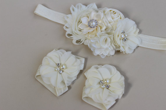Mariage - ivory headband baby baptism headband barefoot sandals ivory christening headband infant girl baptism flower girl headband cream headband