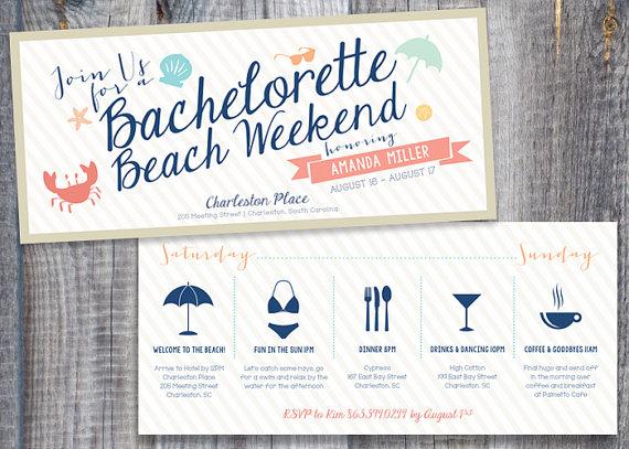 زفاف - Printed / Bachelorette Beach Weekend / Personalized Icons / Custom Color / Timeline