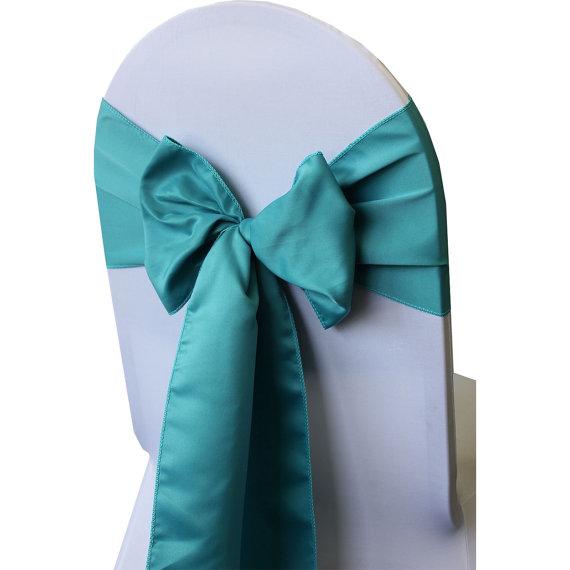 Mariage - Turquoise Lamour Satin Chair Sash