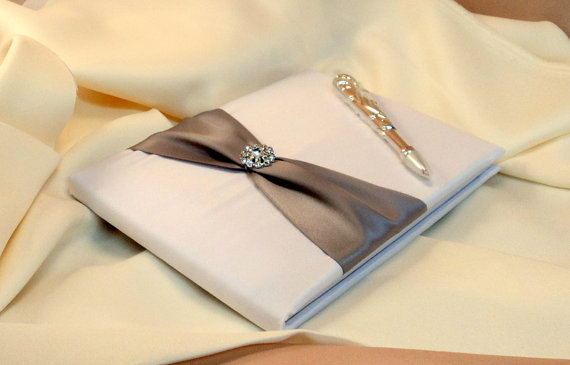 Mariage - Bridal Satin and Sash Wedding Guest Book and Pen Set with Rhinestone Accent...You Choose the Satin Colors.... shown in white/silver gray