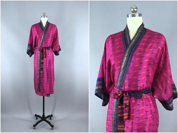 Silk Robe Silk Sari Robe Silk Kimono Robe Vintage Indian Sari