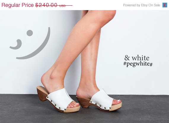 Mariage - ON SALE White Clogs - White mules - Handmade by ImeldaShoes