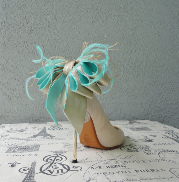 Mariage - Bridal Party Wedding Aqua Blue And Nude Satin Ribbon Bow And Feather Shoe Clips Set Of Two