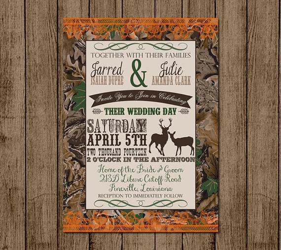 زفاف - Customized Wedding Invitation, Camo, Orange, Deer, Camouflage, Couples Shower, Bridal Shower, Hunting, Redneck Wedding, 5x, DIY Digital File