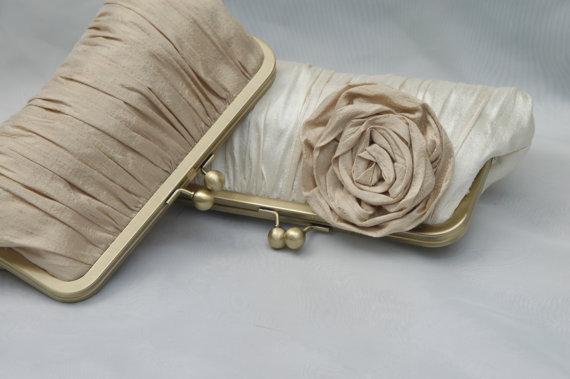Mariage - Wedding Clutch, Champagne Clutch, Bridal Clutch, Bridesmaid Purse, Formal Bag (CHOOSE YOUR COLORS)  {Gathered Kisslock w/ Rose}