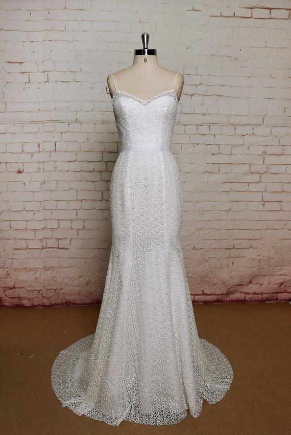Mermaid Style Wedding Dresses With Color : Bridal gown with v back cut ivory color wedding dress mermaid