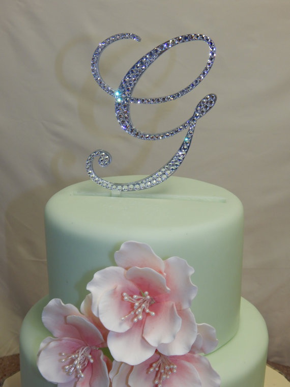 5 Quot Tall Initial Monogram Wedding Cake Topper Swarovski