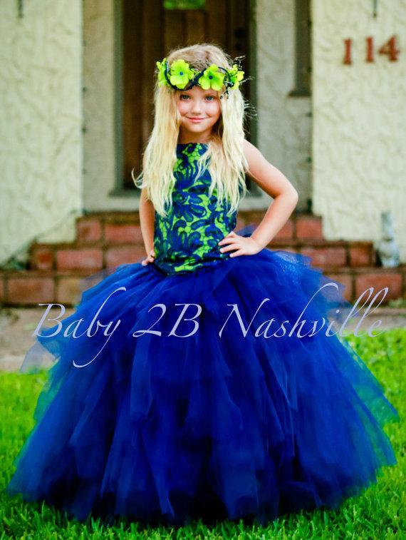Свадьба - Navy and Apple Princess Flower Girl Dress, Wedding Flower Girl  Dress, Princess Dress,Wedding Flower Girl Tutu Dress All Sizes Girls