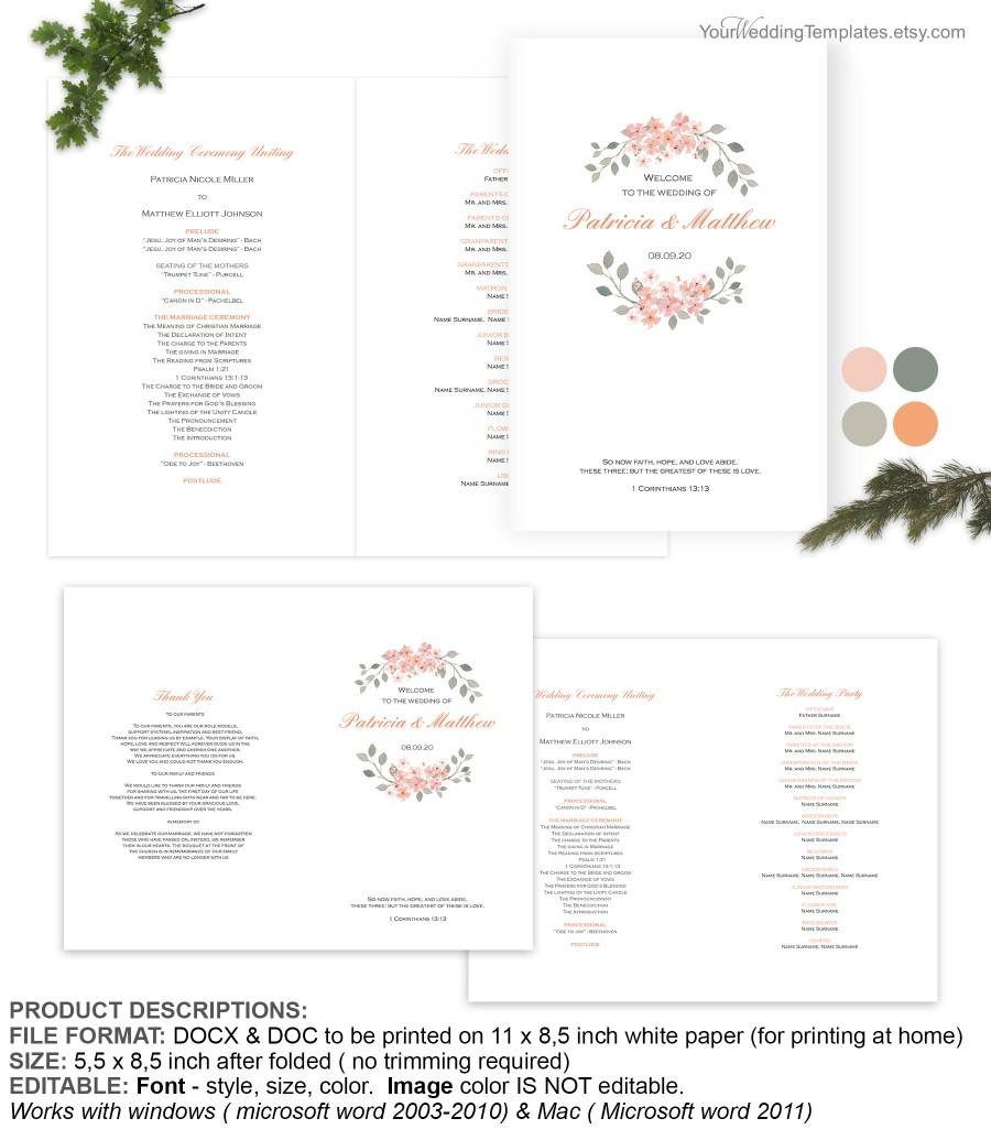 Wedding - Peach watercolor floral wedding program cover template