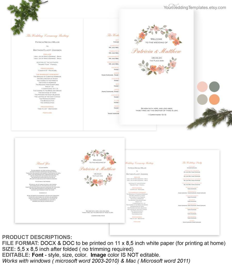 Wedding - DIY watercolor floral wreath wedding program template