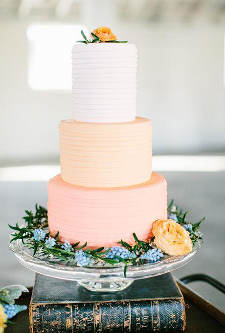 زفاف - A White-and-Peach Three-Tiered Cake