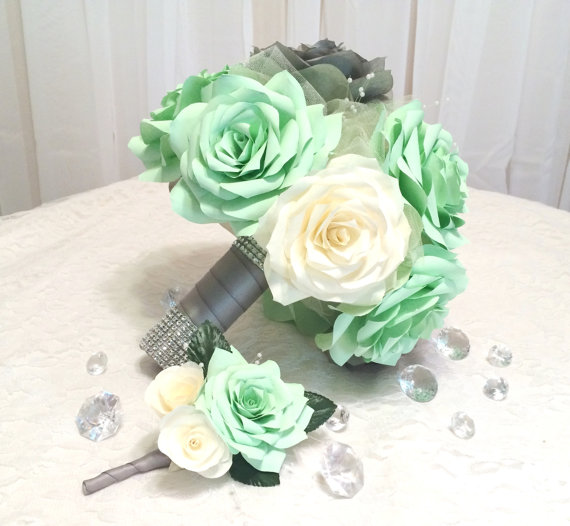 Mint Green Grey And Ivory Handmade Paper Rose Bouquet Boutonniere Can Be Made In Any Colors Keepsake Toss Bridesmaid