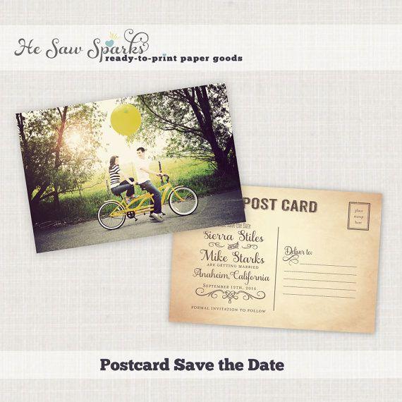 Свадьба - Vintage Postcard Save The Date - DIY - Printable