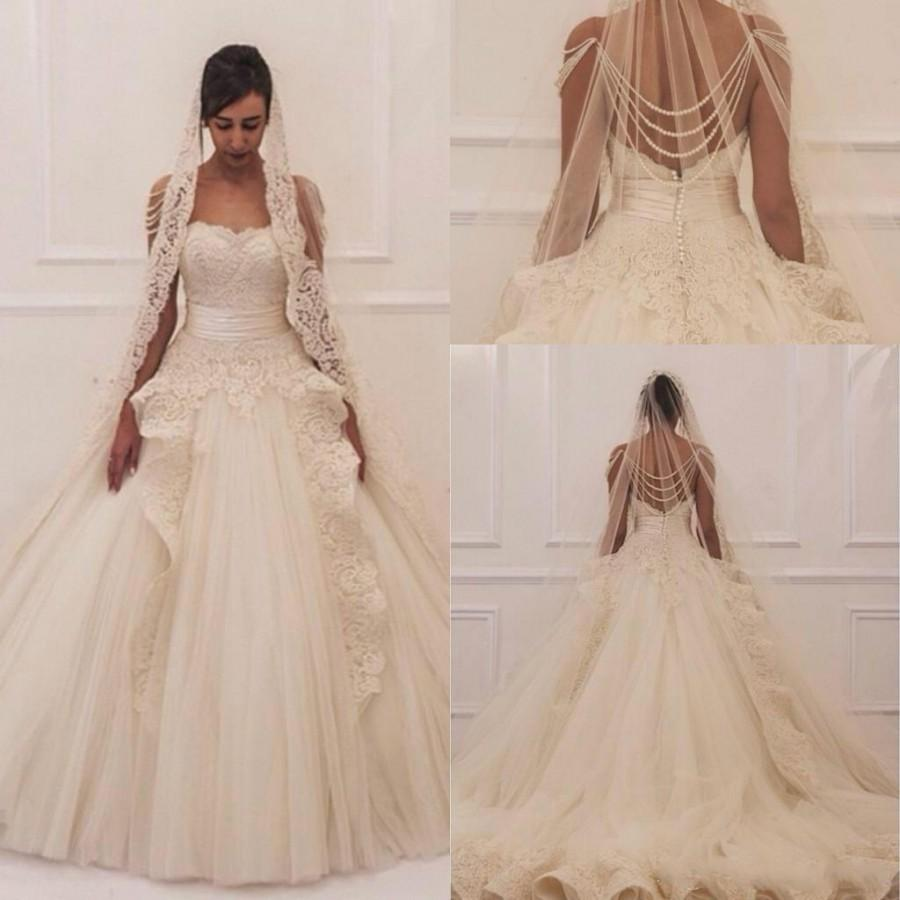 Wedding - Maison Yeya 2015 Wedding Dresses Luxury Ball Gown Strapless Vestido De Novia Lace Appliques Court Train Tulle Bridal Gown Ball Custom Online with $117.72/Piece on Hjklp88's Store