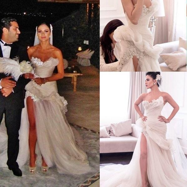 Wedding - 2015 Maison Yeya Mermaid Wedding Dresses Sweetheart Pleated Appliques Beads Split Side Tulle Sweep Train Gorgeous Bridal Dresses Gowns Online with $111.27/Piece on Hjklp88's Store