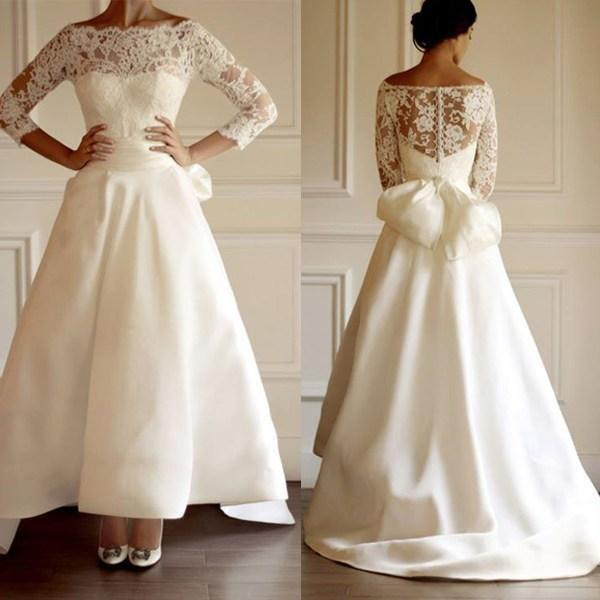 Long Sleeve 50s Wedding Dress : Vintage off the shoulder wedding dresses a line long sleeve lace