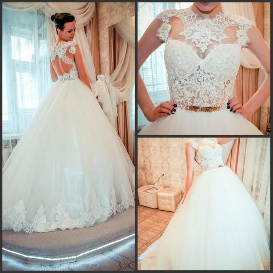 2015 High Neck Wedding Dresses Ball Gown Maison Yeya Lace Sash Cap ...